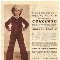 Cine: PTEB 069 SHIRLEY TEMPLE PROGRAMA DOBLE CONCURSO FILMS SELECTOS FOX. Lote 287380298
