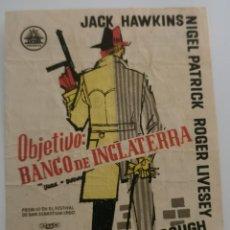Folhetos de mão de filmes antigos de cinema: OBJETIVO BANCO DE INGLATERRA CON PUBLICIDAD. Lote 287386298