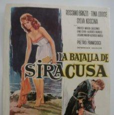 Folhetos de mão de filmes antigos de cinema: LA BATALLA DE SIRACUSA. Lote 287387458