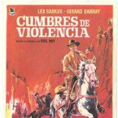 Cine: PTEB 069 CUMBRES DE VIOLENCIA PROGRAMA SENCILLO INTERPENINSULAR LEX BARKER KARL MAY. Lote 287387738