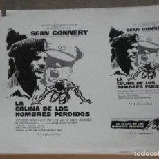 Cine: G9452 LA COLINA DE LOS HOMBRES PERDIDOS SEAN CONNERY 3 CLICHES ORIGINALES DE PRENSA RAROS. Lote 287479073