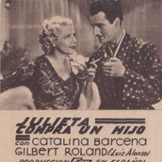 Folhetos de mão de filmes antigos de cinema: PROGRAMA DE CINE - JULIETA COMPRA UN HIJO - CATALINA BARCENA - TEATRO PRINCIPAL - ALICANTE. Lote 287480113