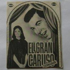 Cine: PROGRAMA DE CINE DOBLE EL GRAN CARUSO. Lote 287554333