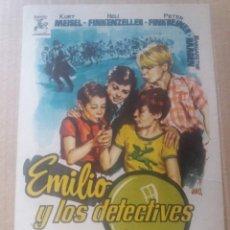 Cine: EMILIO Y LOS DETECTIVES CON PUBLICIDAD COLISEO EQUITATIVA ZARAGOZA. Lote 287559843
