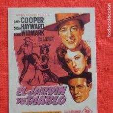 Cine: EL JARDIN DEL DIABLO, IMPECABLE SENCILLO SOLIGO, GARY COOPER CON PUBLICIDAD TIVOLI Y CENTRO VENDRELL. Lote 287664758