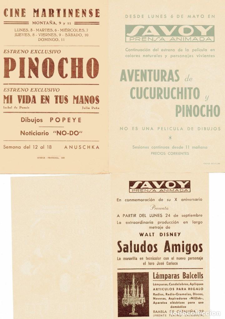 Cine: M205 WALT DISNEY: LOTE 8 PROGRAMAS ANTIGUOS – PINOCHO, BLANCANIEVES, 3 CABALLEROS, MICKEY, DONALD - Foto 3 - 287698863