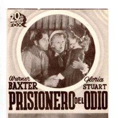 Cine: PRISIONERO DEL ODIO, CON WARNER BAXTER.. Lote 287753953