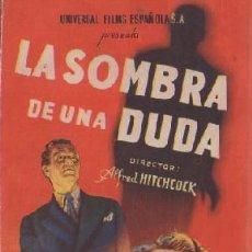 Cine: PROGRAMA DOBLE DE CINE. LA SOMBRA DE UNA DUDA. PC-4871. Lote 287785473