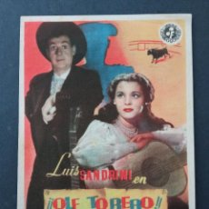 Cine: OLE TORERO!, LUIS SANDRINI, PAQUITA RICO, CINE CAPITOL DE LAS PALMAS. Lote 287820343