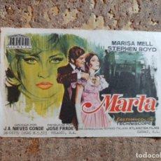 Folhetos de mão de filmes antigos de cinema: FOLLETO DE MANO DE LA PELICULA MARTA. Lote 287844523