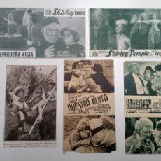 Cine: 50. LOTE 5 PROGRAMAS CINE SHIRLEY TEMPLE TARZAN CINEMA CORONELA USA PEQUEÑA VIGIA HIJITA Y MAS. Lote 287892598