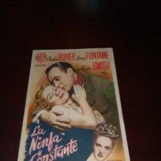 Cine: PROGRAMA DE MANO ORIG - LA NINFA CONSTANTE - CON CINE DE SEVILLA IMPRESO AL DORSO. Lote 287938668