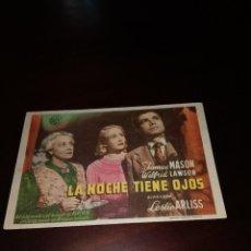 Folhetos de mão de filmes antigos de cinema: PROGRAMA DE MANO ORIG - LA NOCHE TIENE OJOS - CON CINE DE JEREZ IMPRESO AL DORSO. Lote 287939618