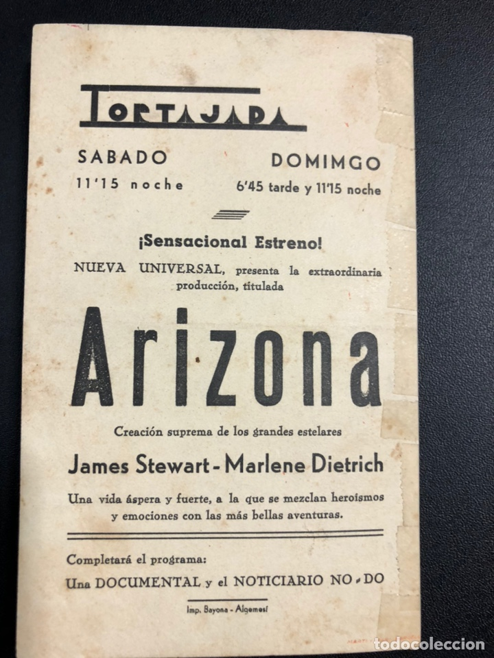 Cine: Programa arizona marlene Dietrich james stewart.con publicidad tortajada algemesi - Foto 3 - 287955078