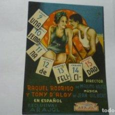 Cine: PROGRAMA UNA SEMANA DE FELICIDAD RAQUEL RODRIGO. Lote 287961108