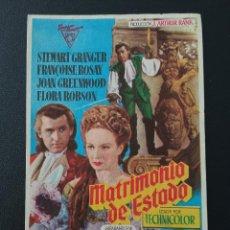 Folhetos de mão de filmes antigos de cinema: MATRIMONIO DE ESTADO, STEWART GRANGER. Lote 287970233