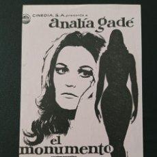 Cine: CLICHÉ DE PRENSA EL MONUMENTO, ANALIA GADE. Lote 287970543