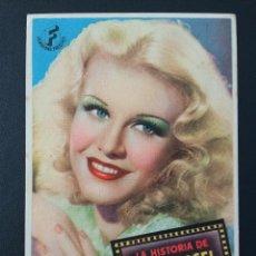 Foglietti di film di film antichi di cinema: LA HISTORIA DE IRENE CASEL, GINGER ROGERS. Lote 287973038