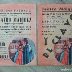 Cine: EL CLAVO, AMPARO RIVELLES, TEATRO MAIQUEZ ESTRENO Y PRIMER REESTRENO, 1944 Y 1945. Lote 287977588