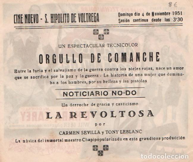 Cine: ORGULLO DE COMANCHE, Programa con publicidad al dorso de Cine Nuevo, San Hipolito de Voltrega - Foto 2 - 287997443