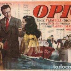 Cine: OPIO, CON DICK POWELL, PUBLICIDDA DEL CINE IMPERIAL DE SABADELL. Lote 287999573