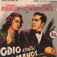 Cine: ODIO ENTRE HERMANOS. CON EDWARD G. ROBINSON Y SUSAN HAYWARD, CINE NUEVO DE SAN HIPOLITO DE VOLTREGA. Lote 288004688