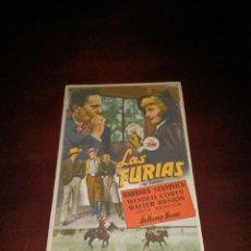 Cine: PROGRAMA DE MANO ORIG- LAS FURIAS - CON CINE KURSAAL IMPRESO AL DORSO. Lote 288043393