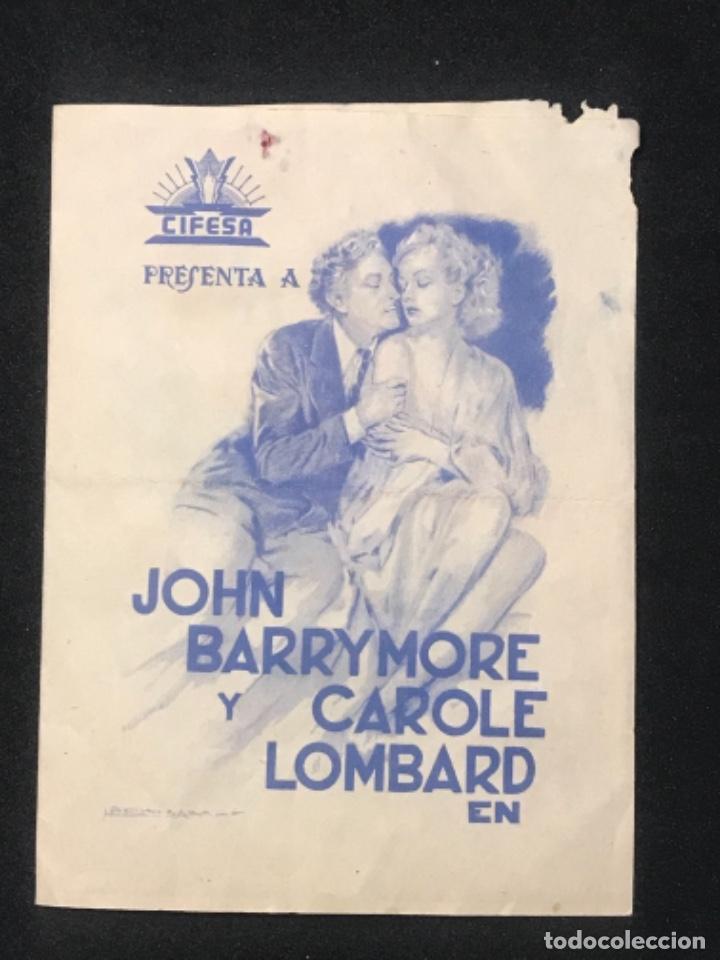LA COMEDIA DE LA VIDA PROGRAMA DOBLE CIFESA CAROLE LOMBARD JOHN BARRYMORE HOWARD HAWKS 1939. (Cine - Folletos de Mano - Comedia)