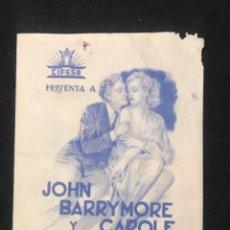 Cine: LA COMEDIA DE LA VIDA PROGRAMA DOBLE CIFESA CAROLE LOMBARD JOHN BARRYMORE HOWARD HAWKS 1939.. Lote 288130003
