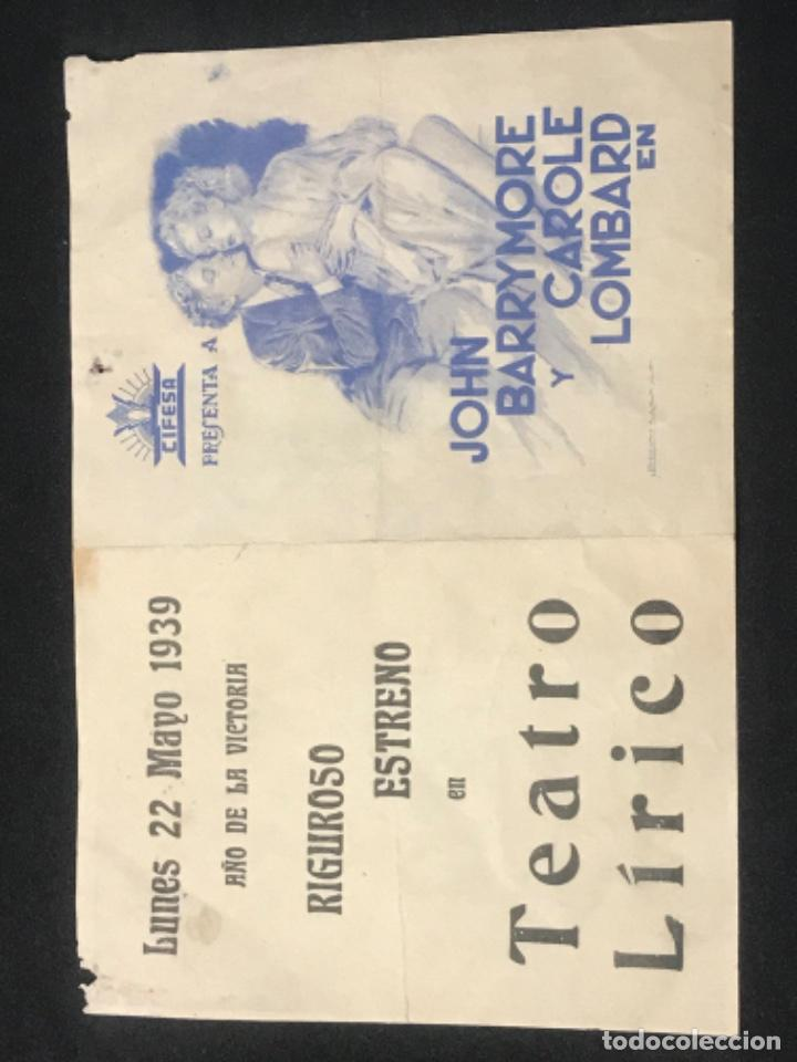 Cine: LA COMEDIA DE LA VIDA PROGRAMA DOBLE CIFESA CAROLE LOMBARD JOHN BARRYMORE HOWARD HAWKS 1939. - Foto 2 - 288130003
