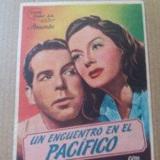 Cine: UN ENCUENTRO EN EL PACÍFICO CON PUBLICIDAD TEATRO MAIQUEZ CARTAGENA. Lote 288150693