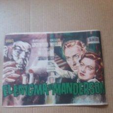 Cine: EL ENIGMA DE MANDERSON CON PUBLICIDAD CINE ESLAVA ONDARA. Lote 288160888