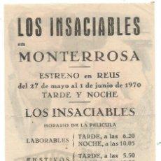 Cine: LOS INSACIABLES CINE MONTERROSA REUS ILUSTRADO MAC. Lote 288171543