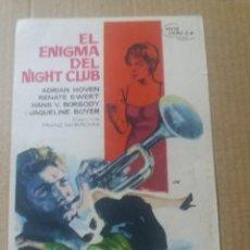 Cine: EL ENIGMA DEL NIGHT CLUB. Lote 288207108