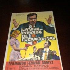 Folhetos de mão de filmes antigos de cinema: PROGRAMA DE MANO ORIG - LA VIDA PRIVADA DE FULANO DE TAL - CON CINE DE MARTOS IMPRESO AL DORSO. Lote 288292218