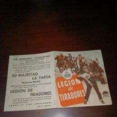 Cine: PROGRAMA DE MANO ORIG DOBLE - LEGION DE TIRADORES - CON CINE DE PREMIA DE MAR IMPRESO AL DORSO. Lote 288292388