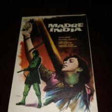 Folhetos de mão de filmes antigos de cinema: PROGRAMA DE MANO ORIG - MADRE INDIA - CON CINE DE FIGUERAS IMPRESO AL DORSO. Lote 288307213