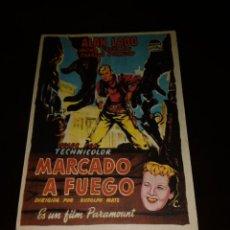Cine: PROGRAMA DE MANO ORIG - MARCADO A FUEGO- CON CINE DE CASTELLÓN IMPRESO AL DORSO. Lote 288307553