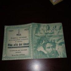 Folhetos de mão de filmes antigos de cinema: PROGRAMA DE MANO ORIG DOBLE - MAS ALLÁ DEL AMOR - CON CINE IDEAL IMPRESO AL DORSO. Lote 288307913