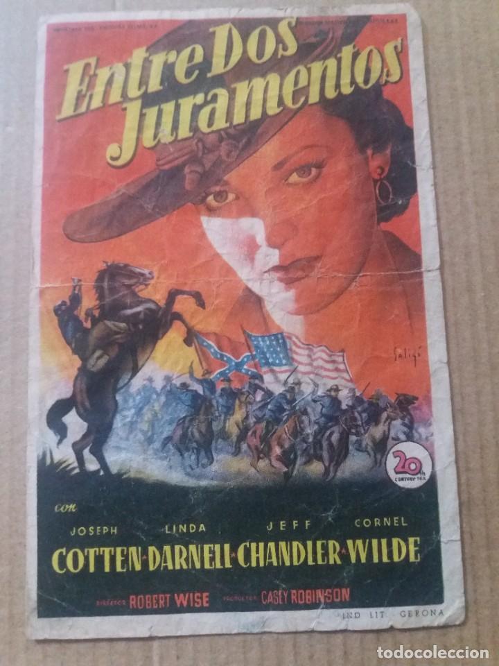 ENTRE DOS JURAMENTOS CON PUBLICIDAD TEATRO CINEMA TRINO CRUZ LA LINEA (Cine - Folletos de Mano - Westerns)