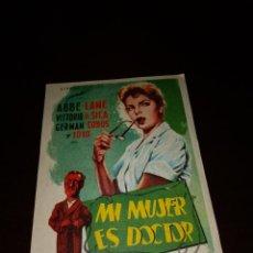 Cine: PROGRAMA DE MANO ORIG - MI MUJER ES DOCTOR - CON CINE DE CASTELLÓN IMPRESO AL DORSO. Lote 288352483