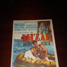 Cine: PROGRAMA DE MANO ORIG - MIZAR AGENTE SECRETO - CON CINE DE ZARAGOZA IMPRESO AL DORSO. Lote 288353278