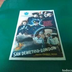 Cine: ANTIGUO PROGRAMA DE CINE SAN DEMETRIO LONDON. CINE LA CALANDRIA DE MASNOU. 1945. Lote 288929568