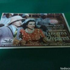 Cine: ANTIGUO PROGRAMA DE CINE LA FUGITIVA DE LOS TRÓPICOS. CINE VICTORIA DE BARCELONA. AÑOS 40. Lote 288929688