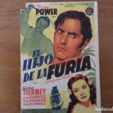 Cine: EL HIJO DE LA FURIA - FOLLETO DE CINE. Lote 288948468