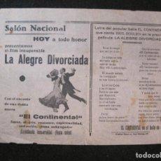 Cine: SALON NACIONAL-LA ALEGRE DIVORCIADA-PROGRAMA DE CINE ANTIGUO-VER FOTOS-(K-4143). Lote 288978773
