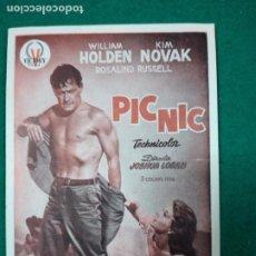 Cine: PROGRAMA DE CINE. PICNIC PIC NIC. WILLIAM HOLDEN - KIM NOVAK. Lote 288978788