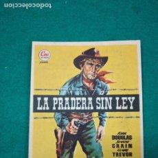 Cine: PROGRAMA DE CINE. LA PRADERA SIN LEY. KIRK DOUGLAS. CON PUBLICIDAD.. Lote 288979643
