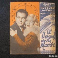 Cine: EL VAGON DE LA MUERTE-PROGRAMA DE CINE DOBLE-CHARLIE RUGGLES & UNA MERKEL-VER FOTOS-(K-4146). Lote 288980318