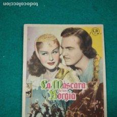 Cine: PROGRAMA DE CINE..LA MASCARA DE LOS BORGIA. PAULETTE GODDARD. CON PUBLICIDAD.. Lote 288980648
